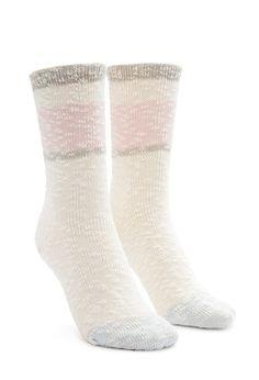 Stripe-Trim Marled Crew Socks - NEW ARRIVALS - ACCESSORIES - 2000156279 - Forever 21 UK