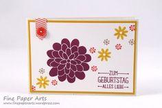 Stampin' up! Birthday card, Geburtstagskarte, Flower Patch - Fine Paper Arts