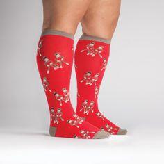 Sock Monkey Love STRETCH-IT Knee High - sock it to me - wide calf socks. Lots of fun designs.