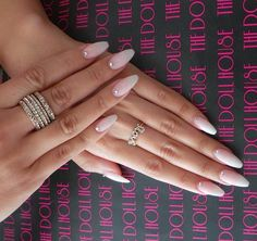 Coffin nude nails with gem