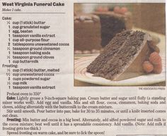 West Virginia Funeral Cake Recipe - With a short history story behind how the real story behind the cake name Retro Recipes, Old Recipes, Vintage Recipes, Cake Recipes, Dessert Recipes, Cooking Recipes, Cooking Ideas, Sweet Recipes, Recipies