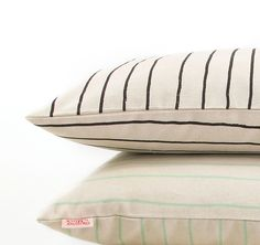 Simple Stripe cushions from Skinny laMinx in liquorice & mint South African Design, Striped Cushions, Bedclothes, Soft Furnishings, Cushion Covers, Fabric Patterns, Coloring Books, Screen Printing, Pixie