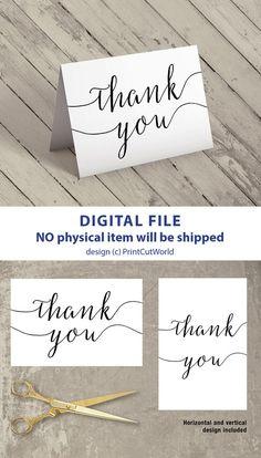 Thank You Card Printable 4x6 Wedding Template Instant Diy Folded Modern Minimalist Script Font