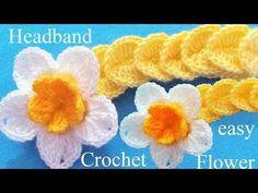 Como tejer a Crochet diadema con flor en punto de medallones - YouTube