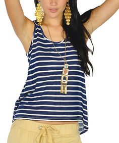 Take a look at this Navy Stripe Tank on zulily today!
