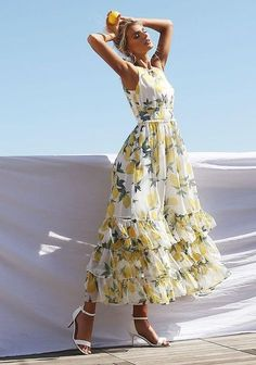 Junior Clothing Ivory Ruffle Tiered Lemon Maxi Dress – New Loveculturecom - Woman Dresses Pretty Dresses, Sexy Dresses, Plus Size Dresses, Beautiful Dresses, Casual Dresses, Fashion Dresses, Summer Dresses, Woman Dresses, Beautiful Life