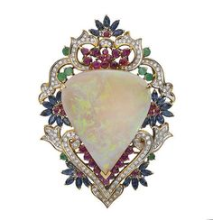 Fine opal & gem-set brooch-pendant