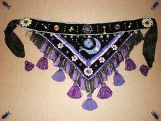 Purple tassel belt designed and handmade by Velvet Claw Designs
