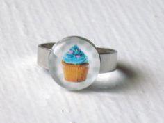 Blue Cupcake Ring  Cute Jewelry Kawaii Food by WingedPony on Etsy, $10.00 @kayla kupcake