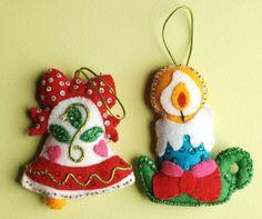 vintage handsewn felt ornaments