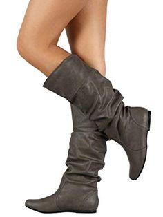 Minetom Stivali da Donna Gli Stivali Alti Stivali di Pelle Pieghettati Moda  Casual Inverno Autunno Boots  Amazon.it  Scarpe e borse b5ab2aaf3b4