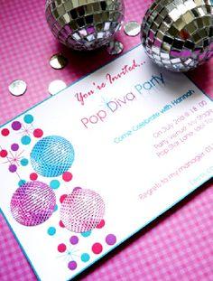 Rock or Pop Star Birthday Party Ideas Diva Party, Party Kit, Party Ideas, 80s Party, Printable Invitations, Party Printables, Party Invitations, American Idol, 6th Birthday Parties