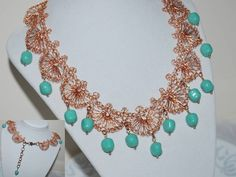 Crocheted Copper Wire Lace Necklace Crochet by MyasCreations Handmade Wire Jewelry, Copper Jewelry, Copper Wire, Beaded Jewelry, Jewellery, Lace Necklace, Wire Wrapped Necklace, Crochet Necklace, Copper Crafts