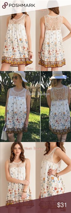 🔻clearance🔻Girly summer dresses This adorable chiffon dress has a floral border and crochet detailing at neckline - partially lined. S(2/4) M(6/8) L(10/12) Dresses