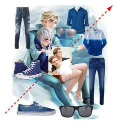"""""""Elsa X Jack frost Twin sons [ Genderswapped ]"""" by ticci-starlight ❤ liked on Polyvore featuring Aéropostale, Jared Lang, True Religion, Dsquared2, Vans, Converse, Orlebar Brown, Prada, men's fashion and menswear"""