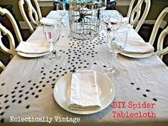 Swap out your everyday tablecloth for this handmade, Halloween variation.