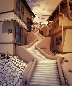 Brazilian alley in Comic architecture by Daniel Mikulik, via Behance