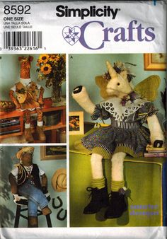 90's Crafting Sewing Pattern for Unicorn Horse and Giraffe by SuzisCornerBoutique