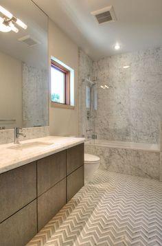 Contemporary Master Bathroom with Kohler White Kelston Undermount Bathroom Sink, herringbone tile floors, Flush Bathroom Renos, Laundry In Bathroom, Master Bathroom, Bathroom Ideas, Cottage Bathrooms, Beautiful Bathrooms, Modern Bathroom, Herringbone Tile Floors, Herringbone Pattern