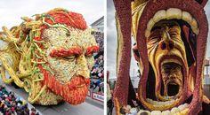 19 sculptures florales géantes étant apparues en l'honneur de Van Gogh lors de la plus grande parade florale du monde, aux Pays-Bas.