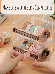 Why have I never seen a washi dispenser before??? It could have saved me many precious minutes spent trying to find the end and cut it!! #washitape #washidispenser #planneraccessories #planner #diymusthave #diy #organization #affiliate