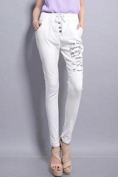 Fancy White Graffiti Harem Pants - OASAP.com