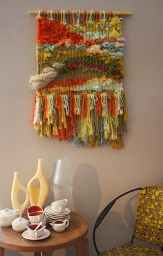 Weaving Wall Hanging, Weaving Art, Tapestry Weaving, Loom Weaving, Hand Weaving, Wall Hangings, Tree Tapestry, Yarn Wall Art, Weaving Techniques