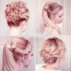 Lilith Moon (@lilithmoonlife) | 1, 2, 3 or 4? Which one do you prefer? If you need a DIY #hairstyle for a special event, on www.lilithmoon.com you can find all these hair tutorials and more :) #hairtutorial #updo #weddinghair #promhair | Intagme - The Best Instagram Widget
