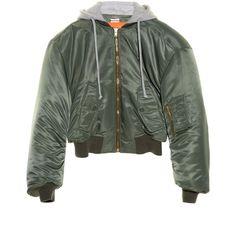 Vetements Mini hooded nylon bomber jacket ($2,390) ❤ liked on Polyvore featuring outerwear, jackets, vetements, khaki, khaki hooded jacket, bomber style jacket, nylon jacket, blouson jacket and oversized hooded jacket