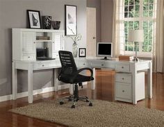 Parker House Boca L-Shaped Modular Office Desk in Cottage White – Home Office Design İdeas Home Office Setup, Home Office Desks, Home Office Furniture, Office Ideas, Furniture Decor, Office Layouts, Office Chairs, Bureau Simple, Small Office Design