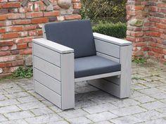 Lounge Sessel Holz, Transparent Geölt Grau - Made in Germany