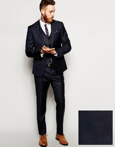 Image 1 of ASOS Slim Fit Plain Navy Suit in 100% Wool