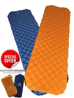 Compact and Waterproof Premium Ultralight Inflatable Camping Sleeping Pad Adults or Kids Extra Comfortable Sleep for Camper Backpacking Camp Sleeping Pad with Lightweight Bag Adult Bed Size Padded Inflating Air Mattress with Lightweight Bag