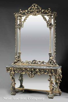 Italian Carved and Gilded Console and Mirror, late 19th c.,
