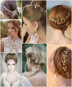 Braut Haarschmuck in golden Goldene und Rosa Traumhochzeit Inspiration