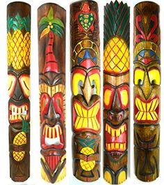 "Set of 5 40"" Polynesian Hawaiian Tiki Bar Style Wall Mask..."