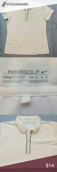 Nike golf fit dry polo M Nike golf fit dri womens polo white black trim M(8-10) Nike Golf Tops