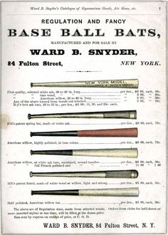 Baseball history photo: Assortment of base ball bats from Snyder's 1875 catalog. Click photo to return to previous page.