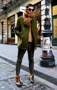 Olive Coat, Oversized Scarf!
