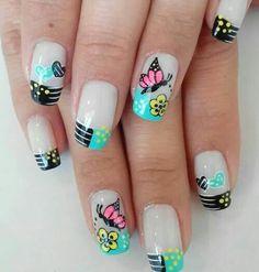 uñas frances negro, turquesa mariposa Square Nail Designs, Diy Nail Designs, French Nails, Nail Manicure, Toe Nails, Butterfly Nail Designs, Fingernails Painted, Nail Polish Crafts, Nails Now