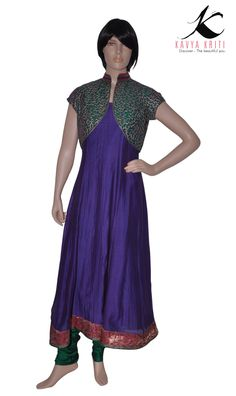 Chanderi cotton anarkali with thread embroidered shrug - the piece draws its inspiration from the colours of nature.
