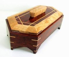 This is an original design, handcrafted, six sided Solid Exotic Bloodwood & Figured Maple wood jewelry/keepsake box. It has splines in the corners Wooden Keepsake Box, Keepsake Boxes, Woodworking Box, Woodworking Projects, Into The Woods, Wooden Jewelry, Jewelry Box, Wood Working For Beginners, Small Boxes