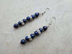 Dark Blue Pearl and Crystal Earrings by MadeInTheFalls on Etsy