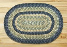 Breezy Blue/Taupe/Ivory Braided Area Rug