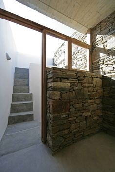 House in Tinos - mX Architecture, stone wall House Landscape, Landscape Walls, Timber House, Villa, Space Architecture, Modern House Design, Beautiful Homes, Building A House, Stone Art