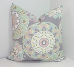OUTDOOR Grey Pink Floral Pillow Cover Mint Aqua Flower Deck Patio Pillow Cover 18x18