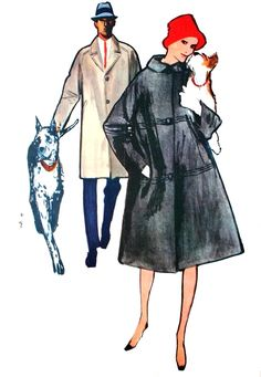 Blizzand raincoats, illustration René Gruau, L'Echo de la Mode September 1961