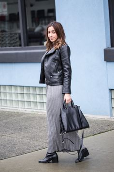 maxi dress, maxi skirt, leather jacket, black tote bag, silver ring, fashion blogger, street style, spring style, winter outfit http://the-unprecedented.ca/maxidressstyle/