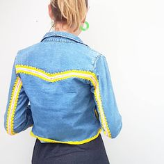 And a finished denim jacket - nothing 'new' was made, nothing is going to landfill, this now fits properly AND it will have a whole new life. Hacking Books, Mollie Makes, Freaking Awesome, My Darling, New Life, Denim Shirt, Colours, My Love, Crochet