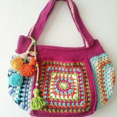 Crochet bag granny square, hanım dilendi bey beğendi çanta, Sac crochet